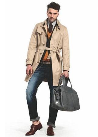 【图】米色风衣配什么裤子?男士米色风衣搭配指南