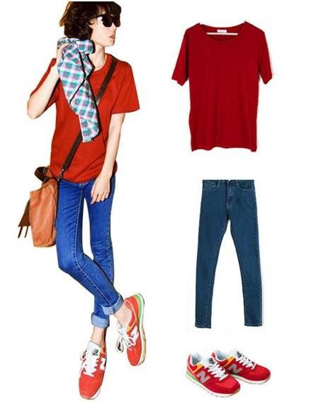 这些同样也适合于女生红色板鞋搭配上