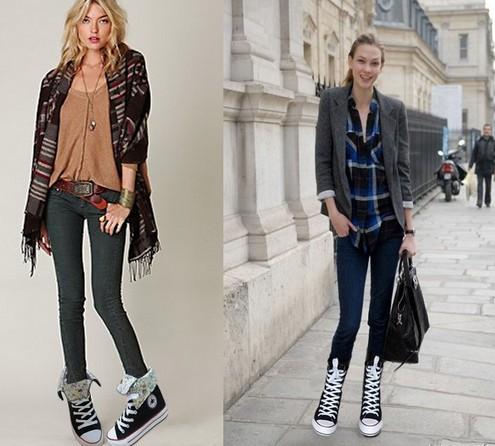 女士高帮鞋搭配什么裤子的一个成功要素就是说整体