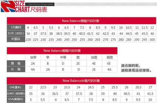 阿迪耐克尺码介绍 nb nike尺码对照表