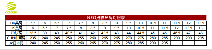 neo男鞋尺码对照表