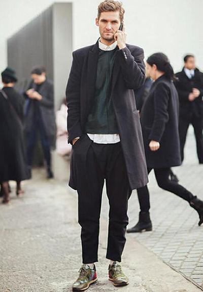 秋冬运动鞋搭配八:黑色风衣 黑色裤子 军绿色运动鞋图片