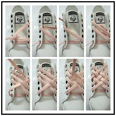 小白鞋鞋带系法步骤之格子系法