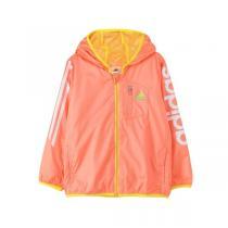adidas阿迪达斯童服女小童4-10岁梭织内里网布设计服装外套