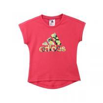 adidas阿迪达斯童运动休闲服装女小童4-10岁针织短袖T恤AB3592