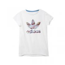 adidas阿迪达斯三叶草童运动休闲服装女大童4-13岁短袖T恤S14446