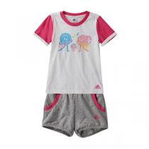 adidas阿迪达斯童运动休闲服装女小童4-10岁针织套装892388