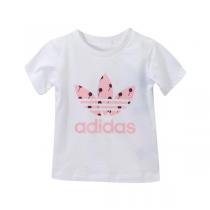 adidas三叶草女婴童0-4岁纯色LGOG短袖T恤运动服AI9983
