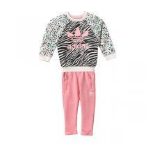 阿迪达斯三叶草童装女婴童0-4岁秋冬款休闲运动套装运动服AY8556