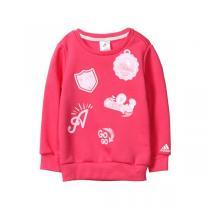 阿迪达斯adidas童装女小童4-10岁秋冬款休闲生活针织套头卫衣童装BQ7638