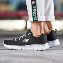 Skechers斯凱奇女鞋休閑鞋輕便簡約純色運動鞋12615