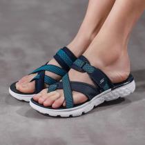 Skechers斯凱奇女鞋夏季新款透氣輕便魔術貼夾趾拖鞋14670