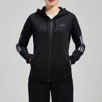 adidas阿迪达斯NEO女装黑色连帽运动休闲外套DM2056