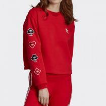Adidas阿迪達斯三葉草女裝春季新款短款運動套頭衛衣FH8567