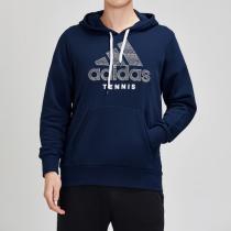 adidas男服衛衣網球連帽開衫休閑運動服DU5336