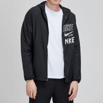 NIKE男装外套黑色连帽针织舒适休闲跑步夹克运动服BQ8263