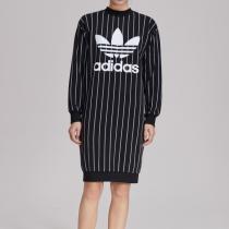 Adidas阿迪達斯三葉草女裝大LOGO豎條紋運動連衣裙DY0877