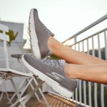 斯凯奇男鞋跑步鞋系带低帮网面轻便休闲健步运动鞋55292