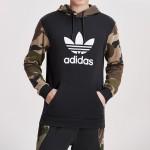 Adidas阿迪达斯三叶草男装春季新款连帽运动LOGO款卫衣DV2023