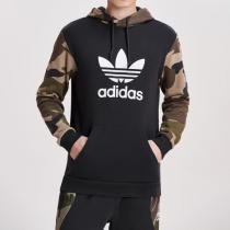 Adidas阿迪達斯三葉草男裝春季新款連帽運動LOGO款衛衣DV2023