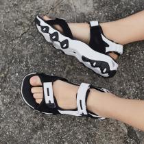 斯凯奇女鞋凉鞋时尚透气厚底魔术贴休闲熊猫运动鞋13100