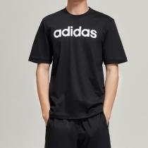 adidas男服短袖T恤圆领logo休闲运动服DU0404