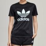 adidas阿迪達斯三葉草女裝LOGO圓領短袖T恤運動服DV0116