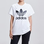 adidas阿迪达斯三叶草女装LOGO款运动休闲短袖T恤DX2322
