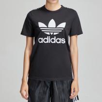 adidas阿迪達斯三葉草女裝圓領LOGO款運動休閑短袖T恤DV0883