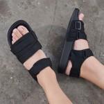 adidas阿迪达斯三叶草女鞋黑色绑带魔术贴休闲运动沙滩凉鞋CG6623