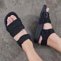 adidas阿迪達斯三葉草女鞋黑色綁帶魔術貼休閑運動沙灘涼鞋CG6623
