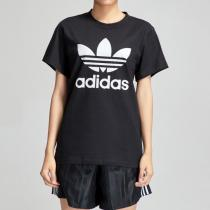 adidas阿迪達斯三葉草女裝LOGO款運動休閑短袖T恤DX2323
