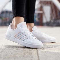 阿迪達斯女鞋板鞋強網球低幫小白鞋休閑運動鞋EG5949