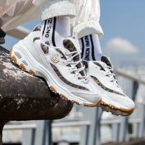 斯凱奇女鞋熊貓鞋D'LITES潮流豹紋復古休閑運動鞋13158