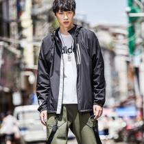 adidas男服外套夹克WND防风跑步休闲运动服DZ0052