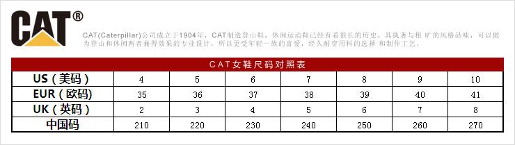 CAT 卡特彼勒女鞋尺码对照表